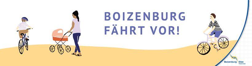 """Ein Banner mit Text """"Boizenburg fährt vor!"""".  Es sind handgezeichnete Menschen mit Fahrrädern und Kinderwagen zu sehen.©Alessa Schall"""