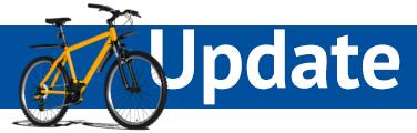 """Ein blauer Banner auf dessen linke Seite ein Fahrrad zu sehen ist. Auf dem Banner steht das Wort """"Update""""©Stadtinformation Boizenburg/Elbe"""